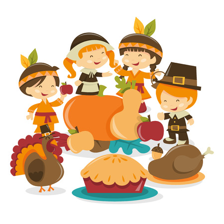 red indian: A cartoon vector illustration of a group of girls and boys dressed in red indian and pilgrim costume surrounding a crop of harvest, turkey and thanksgiving dinner. Illustration
