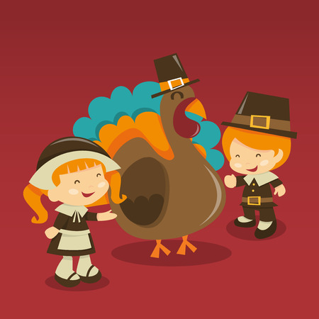 pilgrim costume: A cartoon vector illustration of thanksgiving scene: two kids in pilgrim costume with a oversized turkey. Illustration