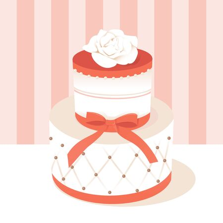 A chic vector illustration of a beautiful fondant wedding cake with bow and rose. Illustration