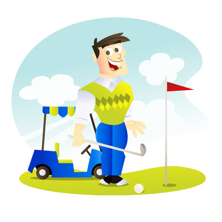 putt: A cartoon vector illustration of a happy golfer ready to putt with a golf cart behind him. Illustration