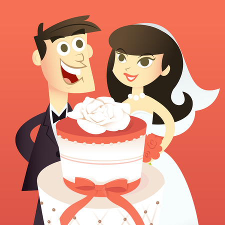 tier: A cartoon vector illustration of a bride and her groom behind a huge beautiful two tier wedding cake.
