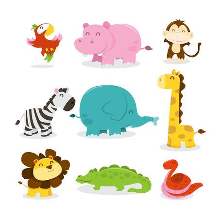 djur: En tecknad vektorillustration av nio olika söta afrikanska djungeldjur som papegoja, flodhäst, apa, sebra, elefant, giraff, lejon, krokodil och orm. Illustration