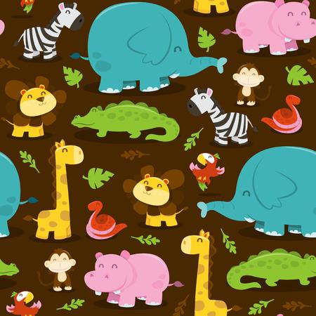 animales de la selva: Una ilustración vectorial de dibujos animados de feliz selva animales tema patrón transparente llena de personajes divertidos como leones, elefantes, jirafas, cebras, monos, cocodrilos, hipopótamos y más con fondo marrón.