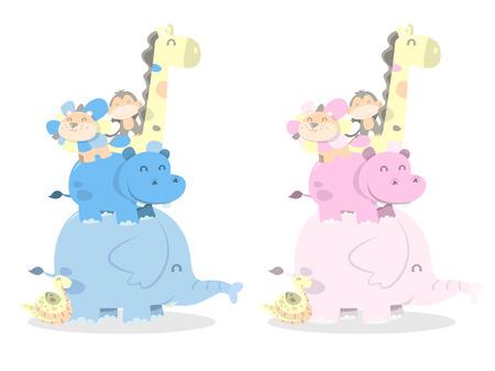 Ein Cartoon-Vektor-Illustration von glücklich Spaß Dschungeltiere stapeln in Pastell Jungen und Mädchen Farbpalette. Standard-Bild - 39281951