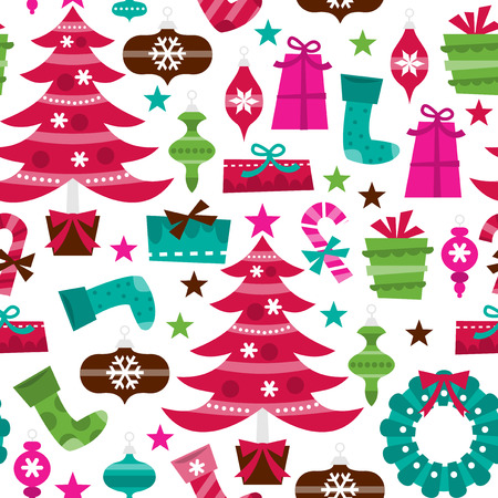 A vector illustration of retro holly jolly christmas theme seamless pattern background. Vector