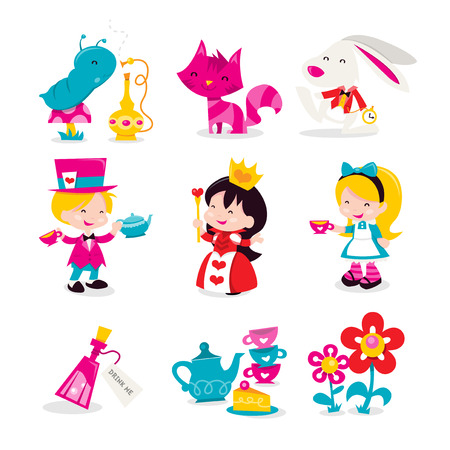 A cartoon vector illustration of whimsical retro Alice In Wonderland theme icons and characters. Included in this set:- Smoking Worm, Cheshire cat, rabbit, Mad hatter, Red Queen, Alice, Drink me potion, teapot and teacups and flowers.