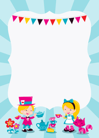A cartoon vector illustration of a colorful whimsical retro alice in wonderland theme copy space with Alice having a tea party with Mad hatter and Cheshire cat. Ideal for kids party invitations or theme events.