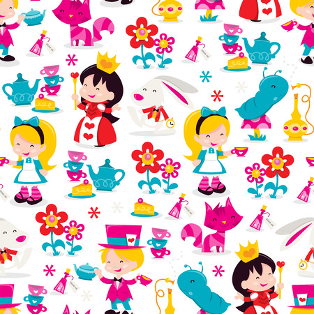 A vector illustration of whimsical retro Alice In Wonderland theme seamless pattern background.