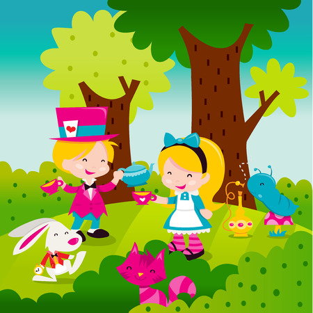 A cartoon vector illustration of a whimsical retro inspired scene from the famous storybook Alice In Wonderland. Madhatter serving tea to Alice with other iconic characters like rabbit, cheshire cat and smoking worm. Illustration