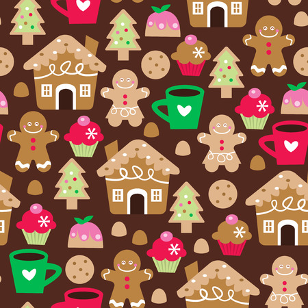 A vector illustration seamless pattern background of retro christmas sweet treats. This pattern is filled with christmas dessert like gingerbread, pudding, cookie, cupcakes and more. Vector