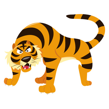 menacing: A cartoon vector illustration of a menacing dangerous tiger. Illustration
