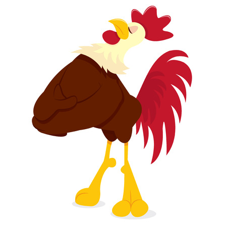eyes closed: A cartoon vector illustration of a rooster chicken standing proud with its eyes closed.
