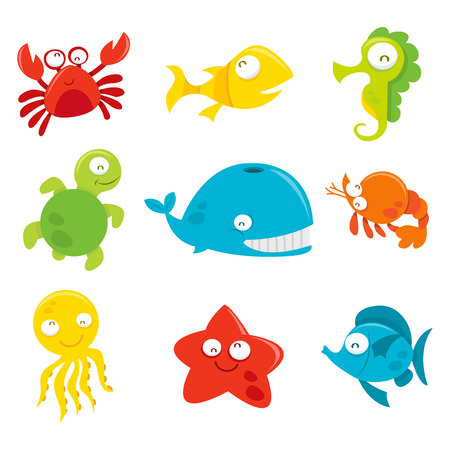 A cartoon vector illustration of nine different set of happy and silly sea animals like crab, fishes, whale, turtle, starfish, octopus and seahorse. Illustration
