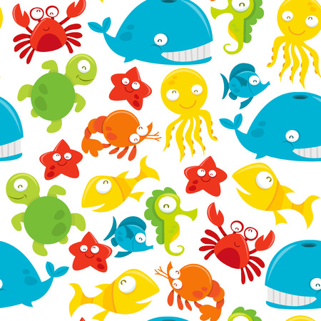 A vector seamless pattern background of happy silly cute sea animals theme. Vector