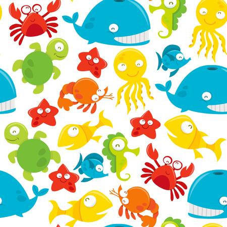 cangrejo caricatura: Un vector de fondo sin fisuras patr�n de feliz tonta mar lindo tema de los animales.