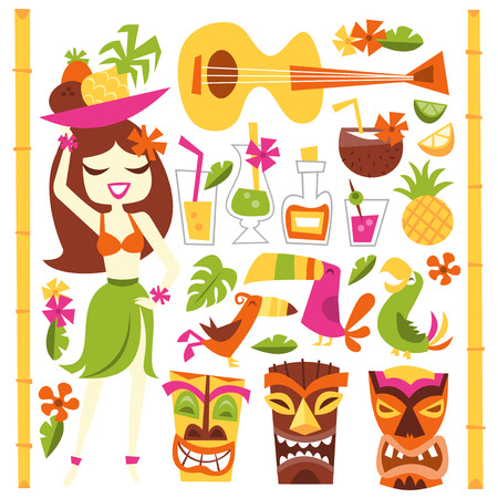 A vector illustration of 1960s retro inspired cute hawaiian luau party design elements set. Included in this set:- hawaiian girl, cocktails, coconut, pineapple, ukelele, tropical birds, tiki statues and more. Illustration