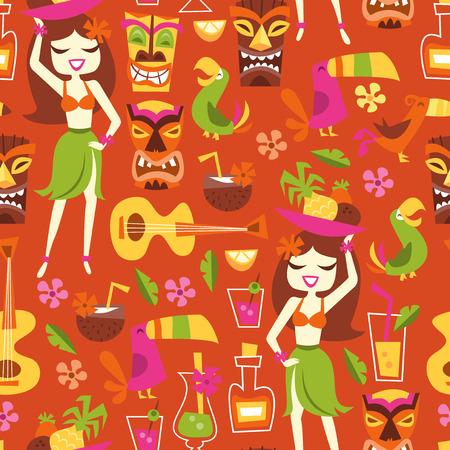 luau party: Una ilustraci�n vectorial de 1960 inspirado retro lindo partido luau hawaiano patr�n de fondo sin fisuras. Este patr�n de la novedad de naranja a base est� llena de chica hawaiano, c�cteles, coco, pi�a, ukelele, aves tropicales, estatuas tiki y m�s. Vectores