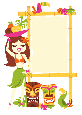 A vector illustration of 1960s retro inspired cute hawaiian luau party blank bamboo sign with a happy hawaiian girl in grass skirt holding a bowl of fruits with tiki statues and tropical birds. Illustration