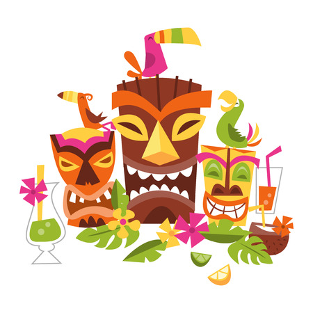 Three grimacing Tiki party masks surrounded by leaves and drinks.  A bird stands on the brown mask.  To the left is a yellow Tiki mask with a green bird on its head.  The orange mask has a matching bird perched on top of its head.  Decorative leaves and f