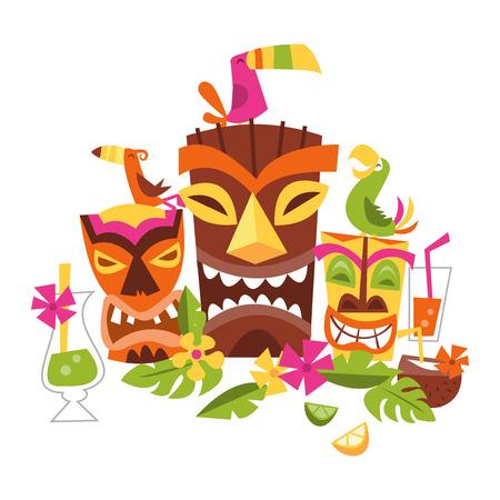 Drie grimassen Tiki partij maskers omringd door bladeren en drankjes. Een vogel staat op de bruine masker. Aan de linkerkant is een gele Tiki masker met een groene vogel op zijn kop. De oranje masker heeft een bijpassende vogel zat op de top van zijn hoofd. Decoratieve bladeren en f Stock Illustratie