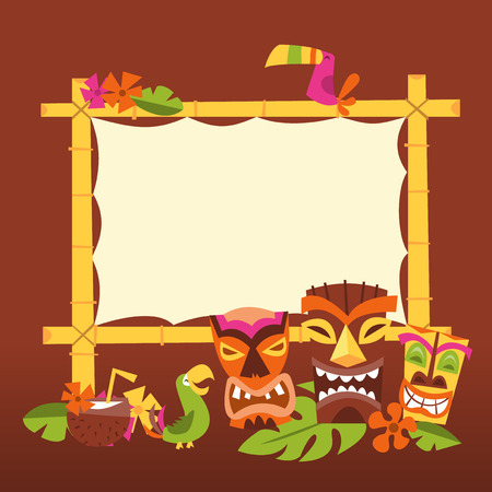 A vector illustration of 1960s retro inspired cute hawaiian luau party blank bamboo sign with tiki statues and tropical birds. Ilustração