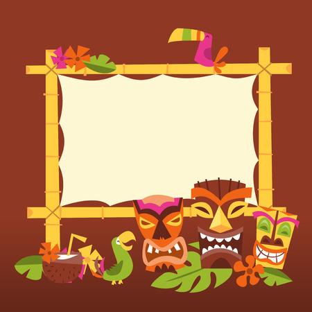 Een vector illustratie van de jaren 1960 retro geïnspireerde schattig Hawaiian luau partij leeg bamboe bord met tiki standbeelden en tropische vogels. Stock Illustratie