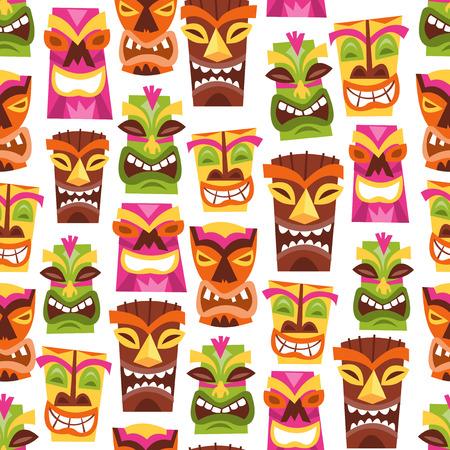 1960 년대의 벡터 일러스트 레이 션 복고풍 귀여운 하와이 루아 파티 티 키 동상에게 원활한 패턴 배경 영감을. 일러스트
