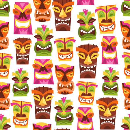 A vector illustration of 1960s retro inspired cute hawaiian luau party tiki statues seamless pattern background. Иллюстрация