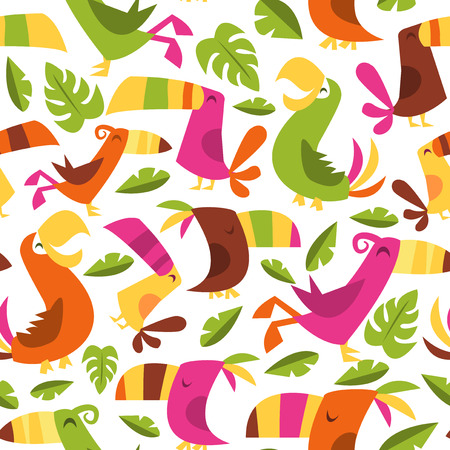 luau: A vector illustration of 1960s retro inspired cute hawaiian luau tropical birds seamless pattern background.