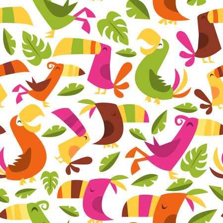 A vector illustration of 1960s retro inspired cute hawaiian luau tropical birds seamless pattern background.