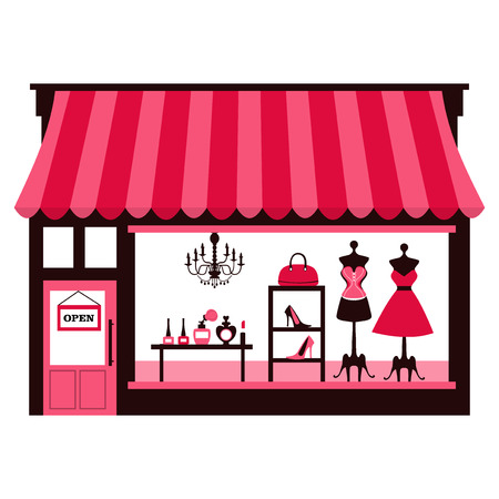 A chic vector illustration of a girlyfeminine shopfront with large window display. On the window display, there are dresses, shoes, bags and cosmetics makeup for sale. Vector