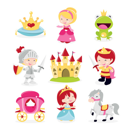 A cartoon vector illustration of cute and fun princesses, prince and knight theme icons set. Included in this set:- crown, princesses, frog prince, knight in armor, castle, prince, horse and carriage.