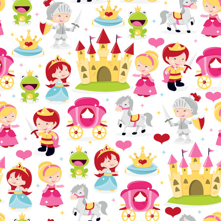 A cartoon vector illustration of cute and fun princesses, prince and knight theme seamless pattern background. This pattern is filled with crown, princesses, frog prince, knight in armor, castle, prince, horse and carriage.