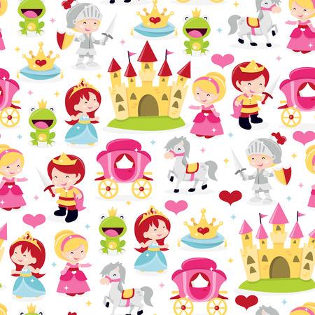 Animowanych ilustracji wektorowych cute i zabawne księcia i księżniczki, rycerza tematu szwu tle. Ten wzór jest wypełniona korony, księżniczki, żaba księcia, rycerza w zbroi, zamku, książę, konia i przewozu.