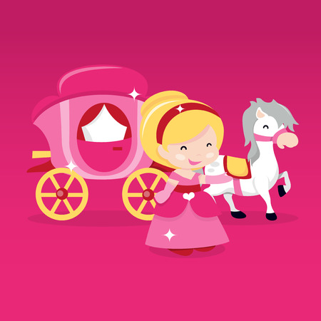 cinderella: A cartoon vector illustration of a happy princess in front of a horse drawn carriage on a pink background.