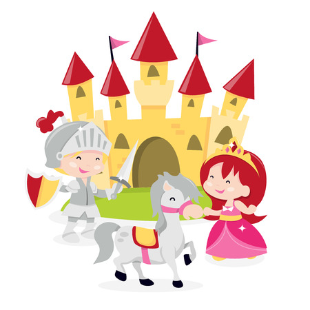 A cartoon vector illustration of cute princesses with her knight of shinning armor complete with horse and castle backdrop.