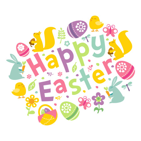 eggs basket: A vector illustration of retro inspired happy easter phrase surrounded by easter symbols like easter bunny, easter eggs basket, easter eggs and cute spring design elements. Illustration