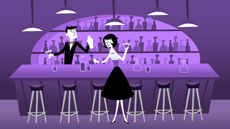 bar stool: A vector illustration of mid century modern retro bar scene in cool purple shade. The illustration depicts a bartender and one lady bar patron around a bar counter. Illustration