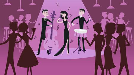 Een vector illustratie van midden van de eeuw moderne retro jazz club scene in koele magenta schaduw. De afbeelding toont een jazzband met zwoele vrouwelijke jazz-zangeres en andere jazzclub mecenassen.