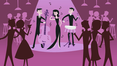 A vector illustration of mid century modern retro jazz club scene in cool magenta shade. The illustration depicts a jazz band with sultry female jazz singer and other jazz club patrons.