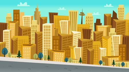 cluster: This image is a vector illustration of a cartoon style day cityscape scene. The buildings are drawn in fun kooky perspective and grouped in a cluster. The buildings are in gold or yellowish tone against a blue cloudy sky background. At the bottom of the i Illustration