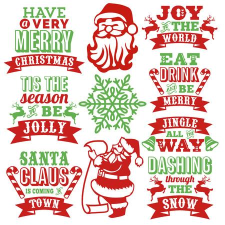 이 이미지는 빈티지 영감을 된 종이의 컬렉션 스타일 크리스마스 단어 예술 장식 크리스마스 기호로 잘라. 크리스마스 단어 예술은 산타 클로스가 도