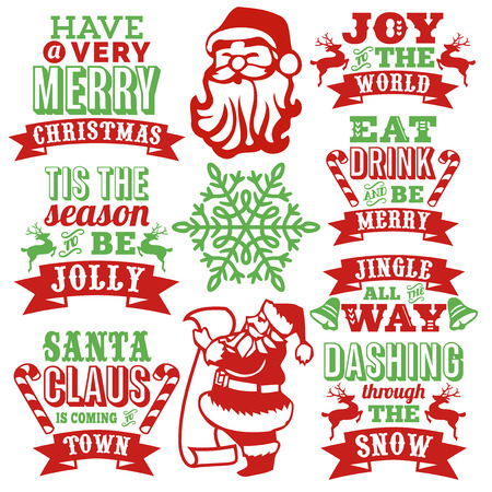 This image is a collection of vintage inspired paper cut style christmas word arts with decorative christmas symbols. The christmas word arts include christmas greetings and popular christmas jingle chorus like santa claus is coming to town, dashing throu