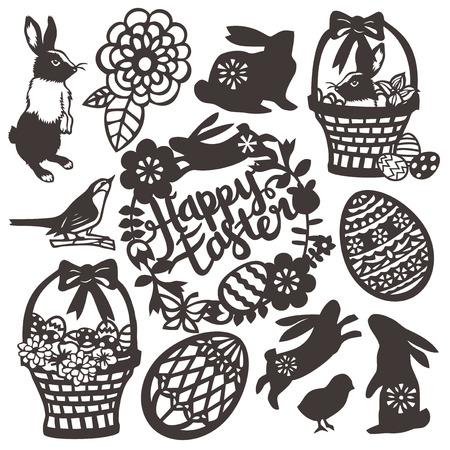 corte laser: Esta imagen es una ilustración vectorial de inspiración vintage estilo de corte de papel conjunto de diseño de la silueta Pascua o la primavera. Este conjunto incluye conejo, cesta de la Pascua, pájaro, feliz corona de Pascua, huevos de pascua y filigrana flor. Todos los elementos de diseño son de color negro en la c