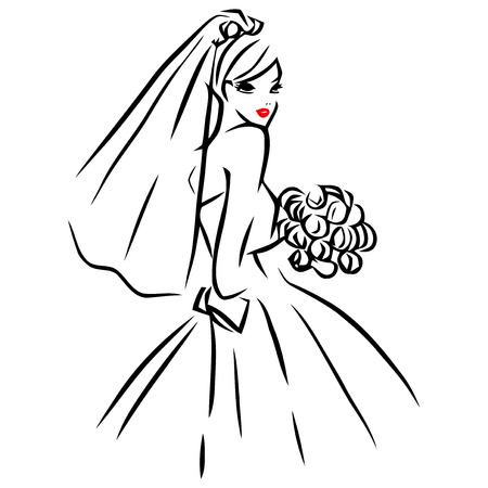 This image is a vector illustration of a line art style beautiful bride holding a wedding bouquet of roses and wearing a wedding veil. The drawing is stylized and minimalist. The drawing lines are in black while the lips of the bride is red on a white bac