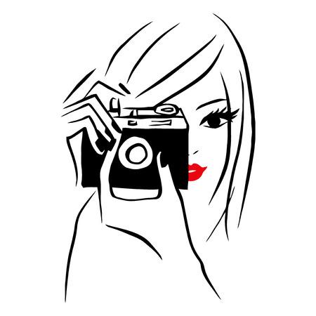 Cette image est une illustration de vecteur d'un style jeune fille de l'art en ligne tenant un appareil photo et de prendre la photo. Le dessin est stylisé et minimaliste. Les lignes de dessin sont en noir tandis que les lèvres de la jeune fille est rouge sur un fond blanc. Banque d'images - 39282056