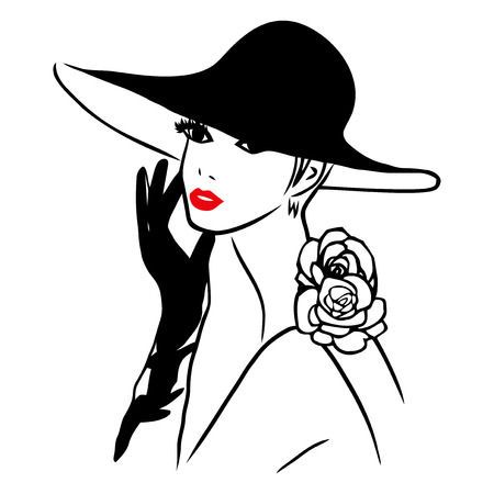big hat: This image is a vector illustration of an elegant lady wearing a big black hat and black gloves.  The drawing is stylized and minimalist. The drawing lines are in black while the lips of the lady is red on a white background. Illustration