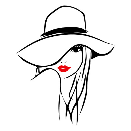 fashion illustration: This image is a vector illustration of a long hair girl wearing a big floppy hat.  The drawing is stylized and minimalist. The drawing lines are in black while the lips of the lady is red on a white background.