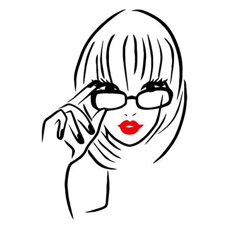 Deze afbeelding is een vector illustratie van een meisje met een dikke rand bril. De tekening is gestileerd en minimalistisch. De tekenen van lijnen zijn in het zwart, terwijl de lippen van de dame is rood op een witte achtergrond.
