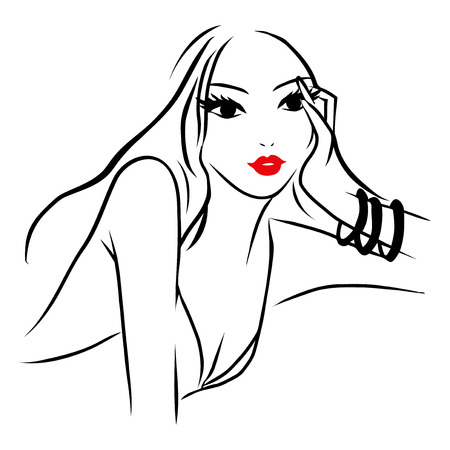 This image is a vector illustration of a long hair beautiful woman in pondering pose with her hand on her face.  The drawing lines are in black on a white background while the woman's lips is red.